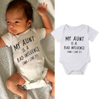 MY Aunt Baby Boy Girls Romper Bodysuit Jumpsuit Cotton Clothes Outfit Summer USA
