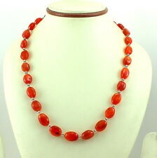 925 SOLID STERLING SILVER RED CARNELIAN NATURAL GEMSTONE NECKLACE 53 GRAMS