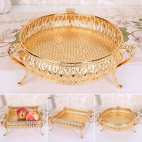 Drink Tray Gold Plate Fruit Snack Storage Box Candle Mirror Glass Vintage Home