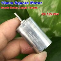 DC 12V-24V Micro 18MM*18MM Square Motor Large Torque 6-Pole Rotor Small DC Motor