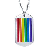 Collana ciondolo Arcobaleno pendente catena catenina targhetta metallo unisex