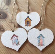 Nautical Seaside Beach Huts Hanging Decorations X 3 Shabby Chic Wood Heart