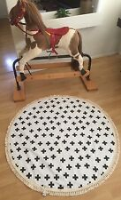 LIGHTLY QUILTED SWISS CROSS BABY PLAY MAT WITH FRINGE NURSERY RUG Deer And Dot