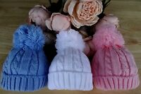 Baby Boy Girl White Blue Pink Cable Knit Pom-Pom Pull On Beanie Hat 0-6-12 mths