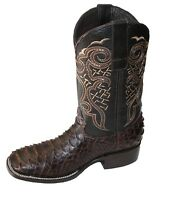 Men's Genuine Leather  Python Print Boots Square Toe Handcrafted