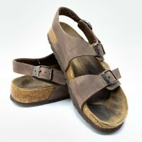 Birkenstock Womens Milano Sandals Brown Buckle Double Strap Leather 6-6.5 EU 37