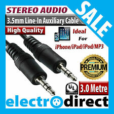 3.0M 3.5mm-3.5mm Line-in AUX Auxiliary Stereo Audio Jack Cable iPhone iPad iPod