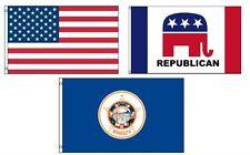 3x5 American & Republican & State of Minnesota Wholesale Set Flag 3'x5'