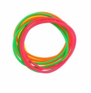 12 Pack Jelly Neon Gummy Bangles Bracelets Wristbands 80's Fancy Dress
