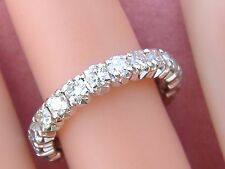 VINTAGE 1.60ctw DIAMOND WHITE 18K ETERNITY BAND RING 1950 size 5.25+ MID-CENTURY