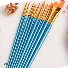 Set 10 Pcs Pinceaux Brosse Peinture l'Huile Aquarelle Gouache Pigment Brushes NF