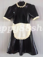Latex Skirts Dress 100% Rubber Maid Woman Club Sexy Ruffle 2019 Style Size S-XXL