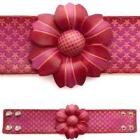 Bracelet femme vrai cuir Réglable fleur étoiles rose fushia rouge bande large