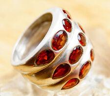 Extrem Massiv Silberring 58 Handarbeit Granat Breit Rot Ring Silber Schlicht