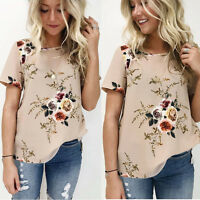Summer Women Blouse Floral Short Sleeve Tunic Chiffon Loose Casual T-Shirt Tops