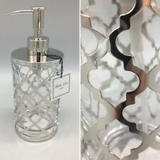Bella Lux Quatrefoil Liquid Soap Pump Dispenser Silver Chrome Glass Lotion NEW