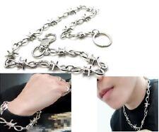 3 Pcs Silver Chrome Barb Wire Biker Trucker Wallet Necklace Bracelets Chain Set