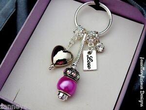 Beautiful Love Heart Magenta Bead Crystal Keyring Key Ring Loved One Valentine