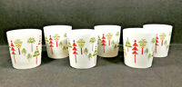 Set of 6 Crate & Barrel Christmas Tree Jumbo Coffee Mug / Cup by Julia Rothman