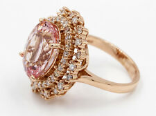 7.10 Ct Natural Pink Morganite Oval & Round Cut Diamond Engagement Ring 14k RG