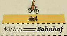 Fahrradfahrer auf Fahrrad Preiser Holz 50er Jahre H0 1:87  å