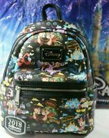 RARE DISNEY PASSHOLDER LTD ED Backpack Mickey & Minnie Figment Goofy Castle Chip