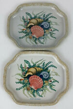"""Vintage Elite Metal Tray 7.5"""" Seashell Design  Made in England - Lot Of 2"""