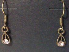 Hook Earrings - Fashion Jewelry Handmade Bronze Tone Pink Rhinestone Teardrop