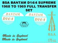 BSA Bantam D14/4 Supreme Transfers Decals Set DBSA97 Classic Motorcycle