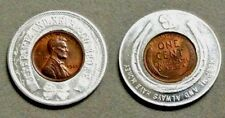 GOOD LUCK TOKEN WITH ENCASED  RED/BROWN BU 1920 LINCOLN CENT.
