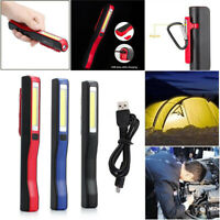 USB LED COB Work Light Inspection Lamp Rechargeable Torch Magnetic Portable Clip