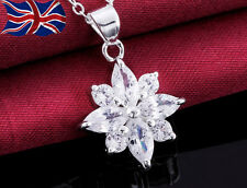 "925 Sterling Silver plated Crystal Necklace Flower Snowflake 18"" Ladies Gift UK"