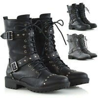 Womens Mid Calf Lace Up Biker Ladies Punk Military Combat Ankle Boots Shoes