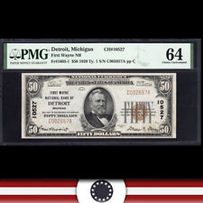 1929 $50 DETROIT, MI NATIONAL BANK NOTE PMG 64 MICHIGAN CURRENCY  C002657A