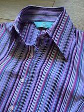 Preciosa HAWES & Curtis Blusa Camiseta Hipster equipada púrpura doble puño Reino Unido 8