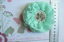 FRENCH TULLE LACE - MINT Frilly Flower EACH approx 9cm across Njoyfull Crafts