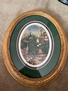 Framed Painting of Peacock in a Garden. Green Hills Art Studio