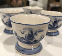 Set Of Four Vintage Delft Blue & White Hand Painted Egg Cups