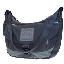f143953b1e9f Auth CHANEL Sport Cross Body Shoulder Bag Canvas Leather Nylon Black 78EQ874