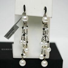 DAVID YURMAN NEW Silver Oceanica Fringe Drop Earrings with Pearls & Black Spinel