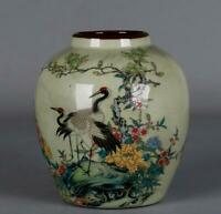 Chinese Famille-rose Porcelain Animal Crane Birds Tree Peony Flower Pot Kettle