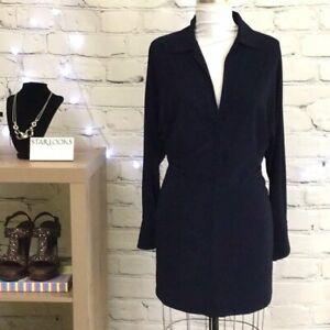 Norma Kamali for Everlast Dark Navy Batwing Sleeve Mini Dress Size Small