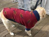 Hunde warm Pulli Fleece Mantel XS S M L amRücken öffnen massive Rasse geeignet