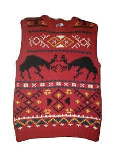 Vintage 80's Cambridge Dry Goods Sweater Vest 100% Wool Reindeer Print Small