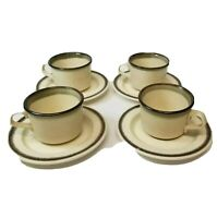 Set of 4  Stoneware Cups & Saucers Vintage ?? USA Beige Green Brown Trim