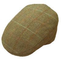 Hawkins Quality Green Tweed 100% Wool Flat Cap. 3 designs. fast post 1st class