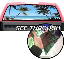 P42 Palm Trees Beach Rear Window Tint Graphic Decal Wrap Back Pickup Graphics