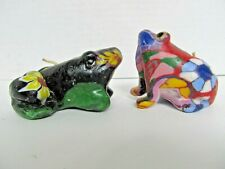 set of unique vintage Frog Candles - very colorful for candle or frog collector