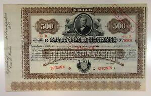 Chile. Caja De Credito Hipotecario, 1900s 500 Pesos Specimen 8%-1% Coupon Bond