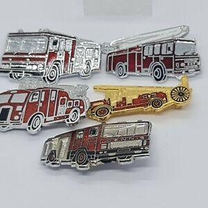 Set Of Five Fire Engines Enamel Pin Badge Job Lot
